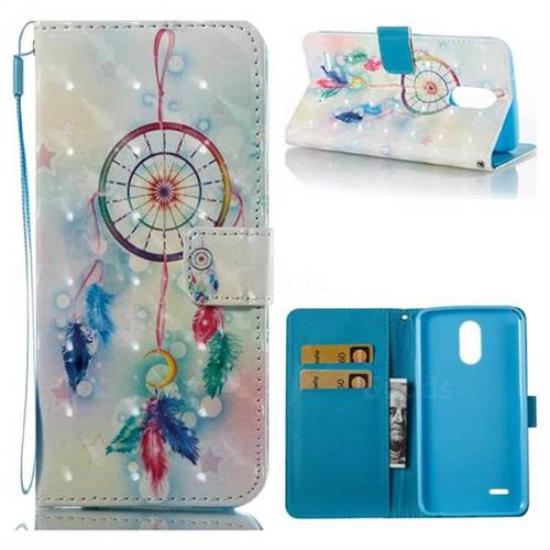 Feather Wind Chimes 3D Painted Leather Wallet Case for LG Stylus 3 Stylo3 K10 Pro LS777 M400DK