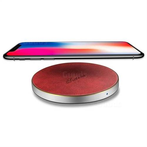 PU Leather Portable Wireless Charger Fast Charge Qi Wireless Charging Thin Pad - Red