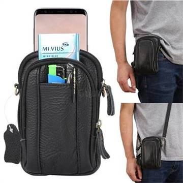 Universal Litchi Genuine Leather Holster Satchel Multi-functional Waist Phone Bag Pocket Case - Black