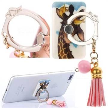 Universal 360 Rotation Stylish Holder Finger Ring Kickstand with Tassel for Mobile Phone Folding - Birds Giraffe