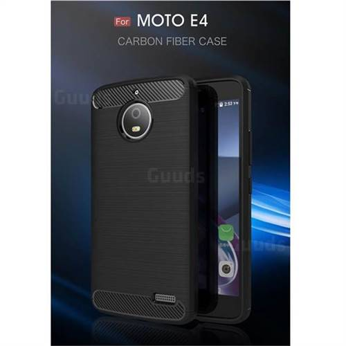 Luxury Carbon Fiber Brushed Wire Drawing Silicone TPU Back Cover for Motorola Moto E4 (Black)