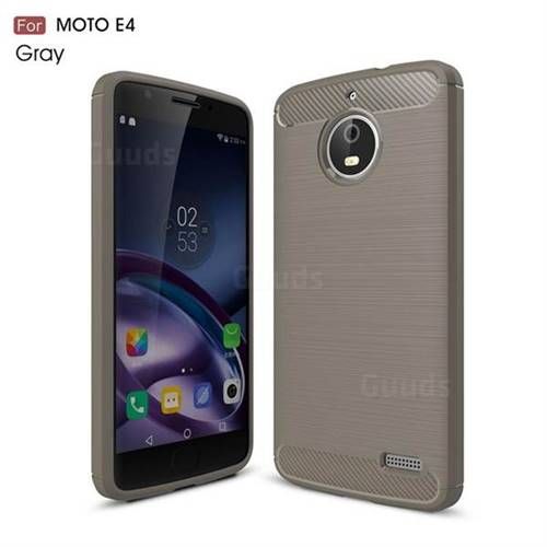 Luxury Carbon Fiber Brushed Wire Drawing Silicone TPU Back Cover for Motorola Moto E4 (Gray)