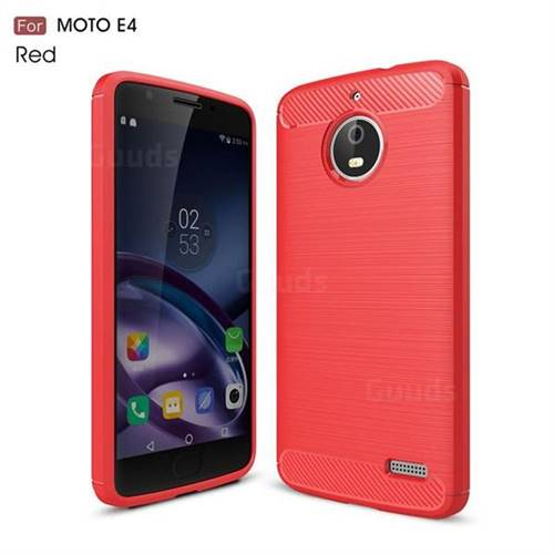 Luxury Carbon Fiber Brushed Wire Drawing Silicone TPU Back Cover for Motorola Moto E4 (Red)