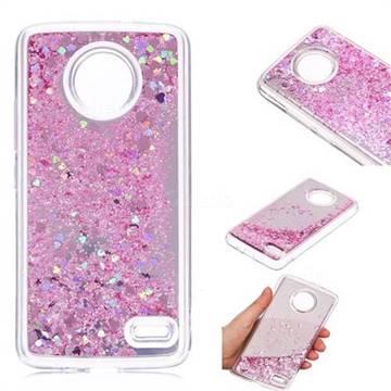 Glitter Sand Mirror Quicksand Dynamic Liquid Star TPU Case for Motorola Moto E4(Europe) - Cherry Pink