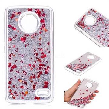 Glitter Sand Mirror Quicksand Dynamic Liquid Star TPU Case for Motorola Moto E4(Europe) - Red