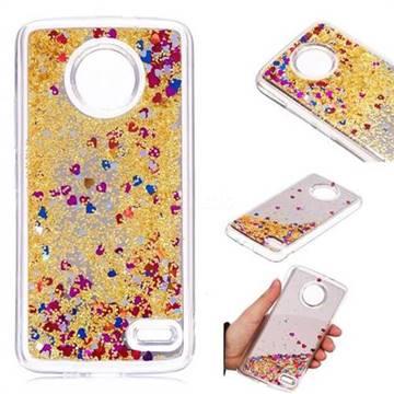 Glitter Sand Mirror Quicksand Dynamic Liquid Star TPU Case for Motorola Moto E4(Europe) - Yellow