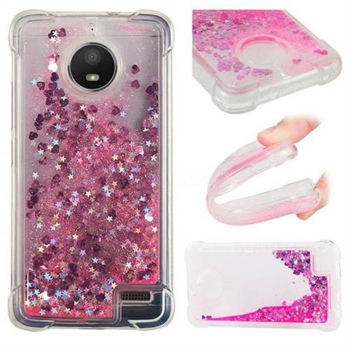 Dynamic Liquid Glitter Sand Quicksand TPU Case for Motorola Moto E4(Europe) - Pink Love Heart