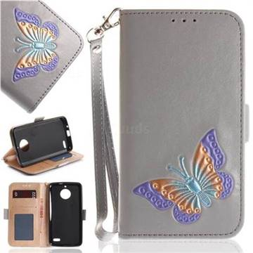Imprint Embossing Butterfly Leather Wallet Case for Motorola Moto E4(Europe) - Grey