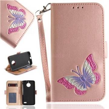 Imprint Embossing Butterfly Leather Wallet Case for Motorola Moto E4(Europe) - Rose Gold
