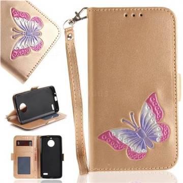 Imprint Embossing Butterfly Leather Wallet Case for Motorola Moto E4(Europe) - Golden