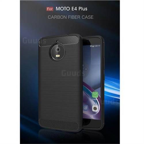 Luxury Carbon Fiber Brushed Wire Drawing Silicone TPU Back Cover for Motorola Moto E4 Plus (Black)