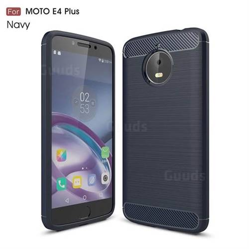 Luxury Carbon Fiber Brushed Wire Drawing Silicone TPU Back Cover for Motorola Moto E4 Plus (Navy)