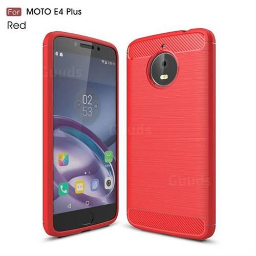 Luxury Carbon Fiber Brushed Wire Drawing Silicone TPU Back Cover for Motorola Moto E4 Plus (Red)