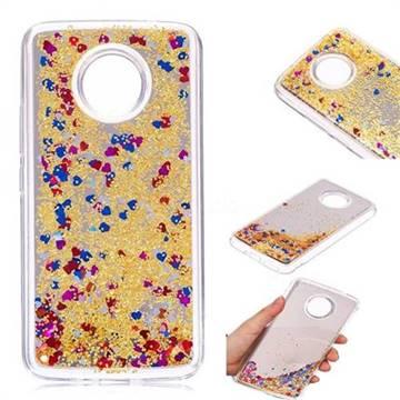 Glitter Sand Mirror Quicksand Dynamic Liquid Star TPU Case for Motorola Moto E4 Plus(Europe) - Yellow