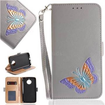 Imprint Embossing Butterfly Leather Wallet Case for Motorola Moto E4 Plus(Europe) - Grey
