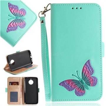 Imprint Embossing Butterfly Leather Wallet Case for Motorola Moto E4 Plus(Europe) - Mint Green