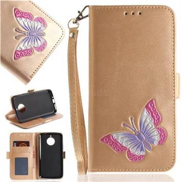 Imprint Embossing Butterfly Leather Wallet Case for Motorola Moto E4 Plus(Europe) - Golden