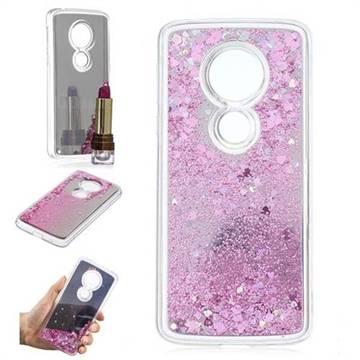 Glitter Sand Mirror Quicksand Dynamic Liquid Star TPU Case for Motorola Moto E5 - Cherry Pink