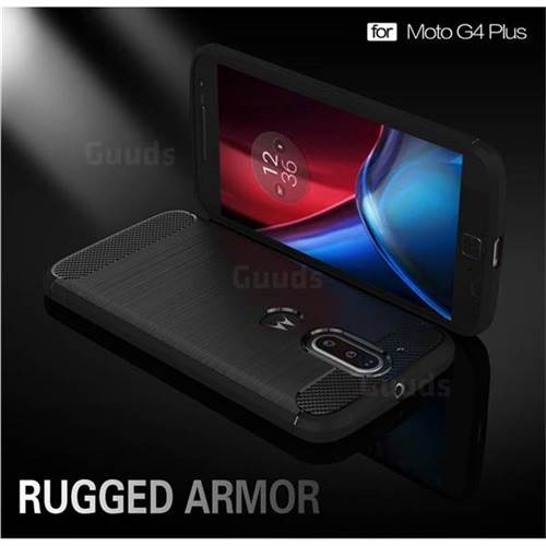 Luxury Carbon Fiber Brushed Wire Drawing Silicone TPU Back Cover for Motorola Moto G4 G4 Plus (Black)