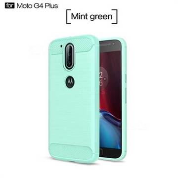 Luxury Carbon Fiber Brushed Wire Drawing Silicone TPU Back Cover for Motorola Moto G4 G4 Plus (Mint Green)