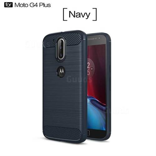 Luxury Carbon Fiber Brushed Wire Drawing Silicone TPU Back Cover for Motorola Moto G4 G4 Plus (Navy)