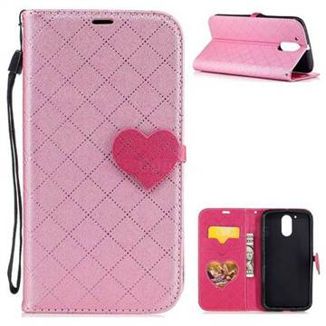 Symphony Checkered Dual Color PU Heart Leather Wallet Case for Motorola Moto G4 G4 Plus - Pink