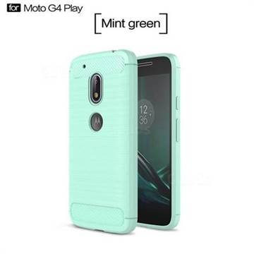 Luxury Carbon Fiber Brushed Wire Drawing Silicone TPU Back Cover for Motorola Moto G4 Play (Mint Green)