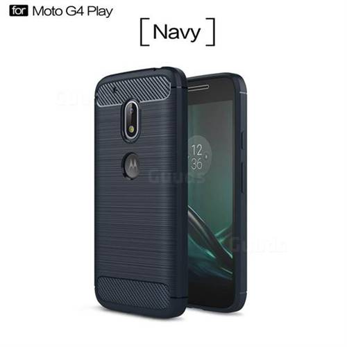 Luxury Carbon Fiber Brushed Wire Drawing Silicone TPU Back Cover for Motorola Moto G4 Play (Navy)