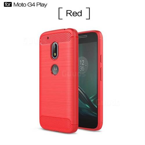 Luxury Carbon Fiber Brushed Wire Drawing Silicone TPU Back Cover for Motorola Moto G4 Play (Red)