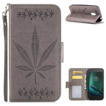Intricate Embossing Maple Leather Wallet Case for Motorola Moto G4 Play - Gray