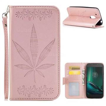 Intricate Embossing Maple Leather Wallet Case for Motorola Moto G4 Play - Rose Gold