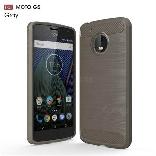Luxury Carbon Fiber Brushed Wire Drawing Silicone TPU Back Cover for Motorola Moto G5 (Gray)