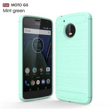 Luxury Carbon Fiber Brushed Wire Drawing Silicone TPU Back Cover for Motorola Moto G5 (Mint Green)