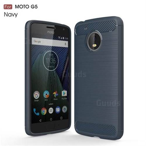 Luxury Carbon Fiber Brushed Wire Drawing Silicone TPU Back Cover for Motorola Moto G5 (Navy)