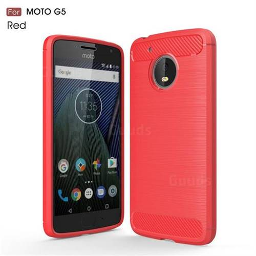 Luxury Carbon Fiber Brushed Wire Drawing Silicone TPU Back Cover for Motorola Moto G5 (Red)