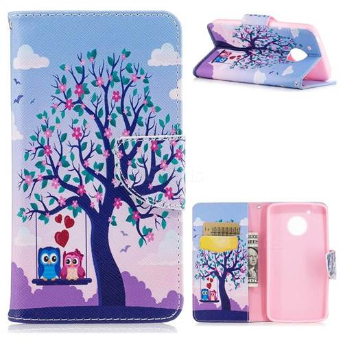 Tree and Owls Leather Wallet Case for Motorola Moto G5