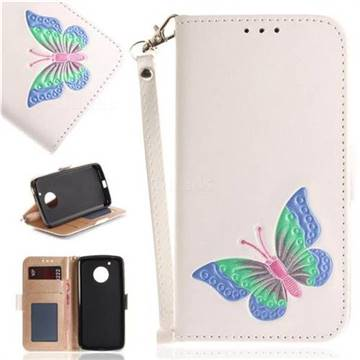 Imprint Embossing Butterfly Leather Wallet Case for Motorola Moto G5 - White