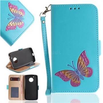 Imprint Embossing Butterfly Leather Wallet Case for Motorola Moto G5 - Sky Blue