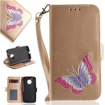 Imprint Embossing Butterfly Leather Wallet Case for Motorola Moto G5 - Golden