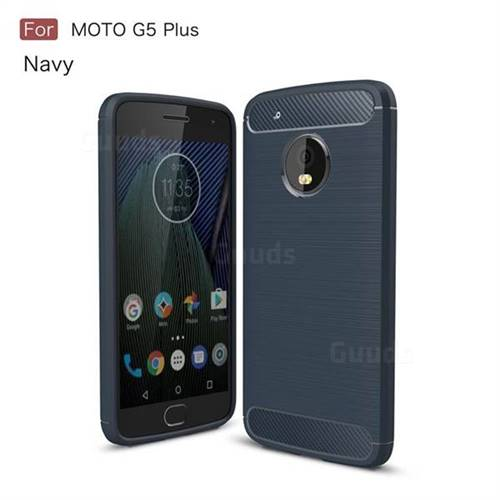 Luxury Carbon Fiber Brushed Wire Drawing Silicone TPU Back Cover for Motorola Moto G5 Plus (Navy)