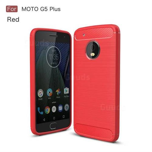 Luxury Carbon Fiber Brushed Wire Drawing Silicone TPU Back Cover for Motorola Moto G5 Plus (Red)