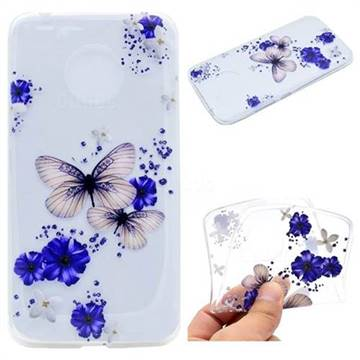 Blue Butterfly Flowers Super Clear Soft TPU Back Cover for Motorola Moto G5 Plus