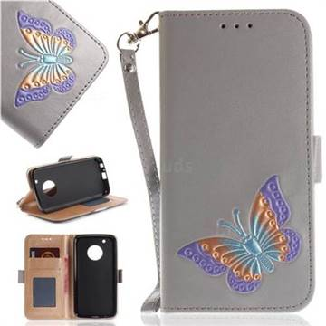 Imprint Embossing Butterfly Leather Wallet Case for Motorola Moto G5 Plus - Grey