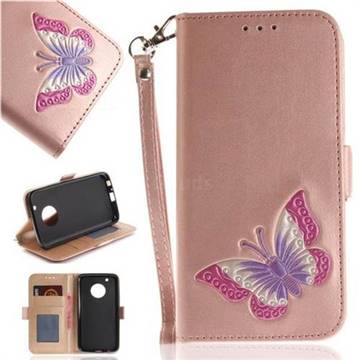 Imprint Embossing Butterfly Leather Wallet Case for Motorola Moto G5 Plus - Rose Gold