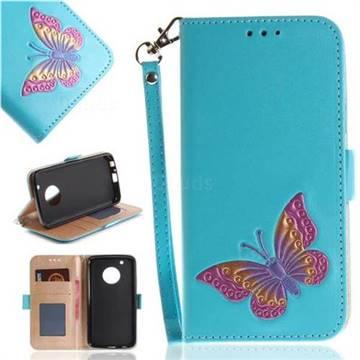 Imprint Embossing Butterfly Leather Wallet Case for Motorola Moto G5 Plus - Sky Blue