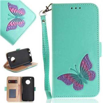 Imprint Embossing Butterfly Leather Wallet Case for Motorola Moto G5 Plus - Mint Green