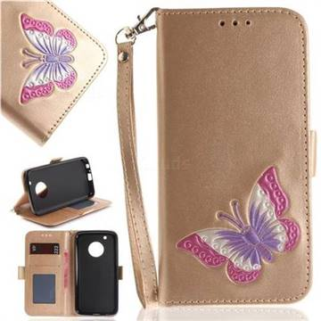 Imprint Embossing Butterfly Leather Wallet Case for Motorola Moto G5 Plus - Golden