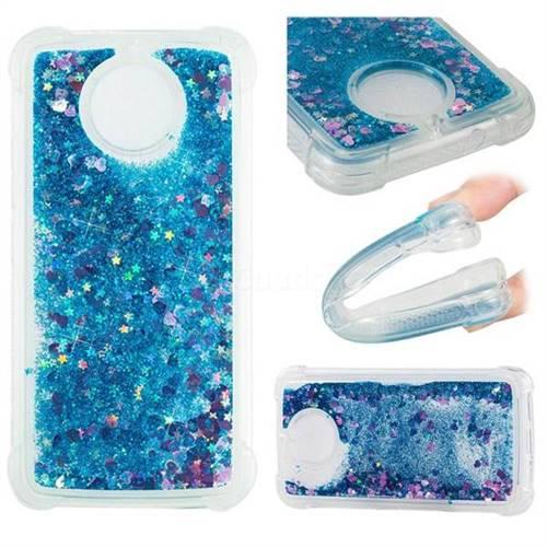 Dynamic Liquid Glitter Sand Quicksand TPU Case for Motorola Moto G5S - Blue Love Heart