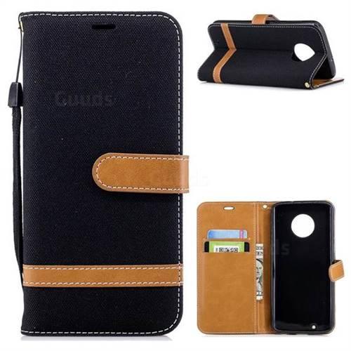 Jeans Cowboy Denim Leather Wallet Case for Motorola Moto G6 - Black