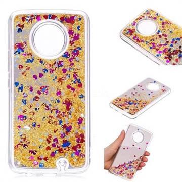 Glitter Sand Mirror Quicksand Dynamic Liquid Star TPU Case for Motorola Moto X4 (4th gen.) - Yellow